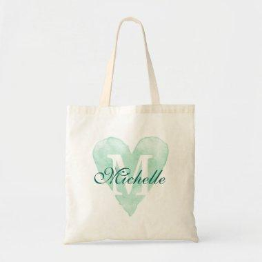Rustic monogram heart bridesmaid wedding tote bags