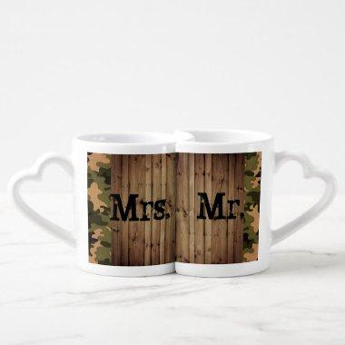 rustic mr and mrs western country Camo Wedding Coffee Mug Set