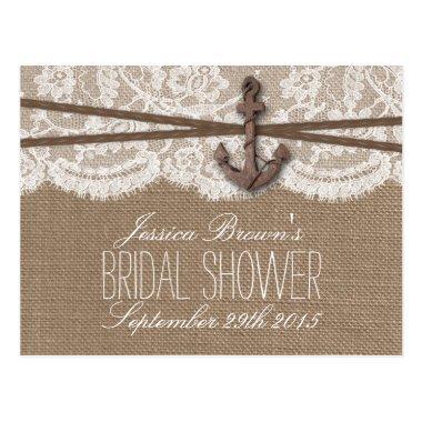 Rustic Nautical Anchor Bridal Shower Recipe Invitations