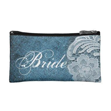 rustic navy blue burlap lace country bride makeup bag