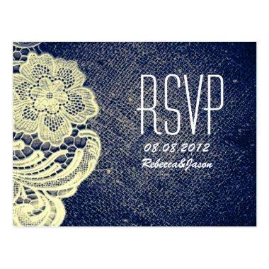 rustic navy blue burlap lace country wedding RSVP Post