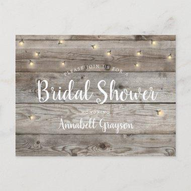 Rustic Old Wood Grain Fireflies Bridal Shower Invitation PostInvitations