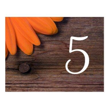Rustic Orange Daisy Country Wedding Table Numbers PostInvitations