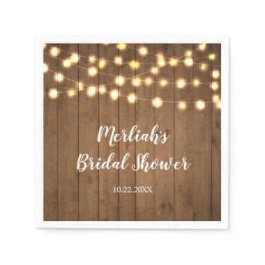 Rustic Party Lights Faux Wood Celebration Napkin
