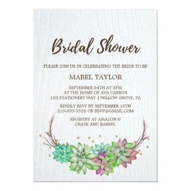 Rustic Pink & Mint Floral Succulent Bridal Shower Invitations
