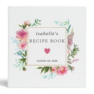 Rustic Pink Peony Floral Bridal Shower Recipe Book 3 Ring Binder