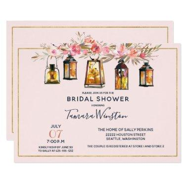 Rustic Romantic Lanterns Rose Gold Bridal Shower Invitations
