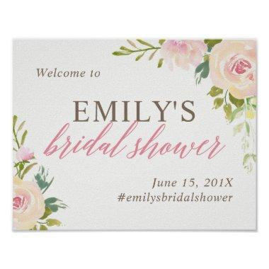 Rustic Rose  Welcome Sign White