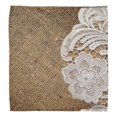 rustic shabby chic girly country burlap and lace bandana