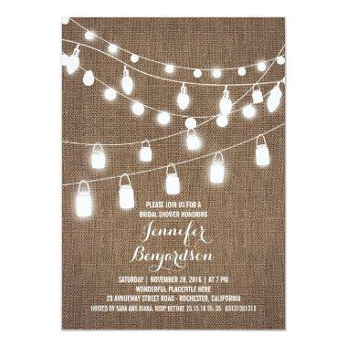 Rustic String Lights Burlap Bridal Shower Invitations