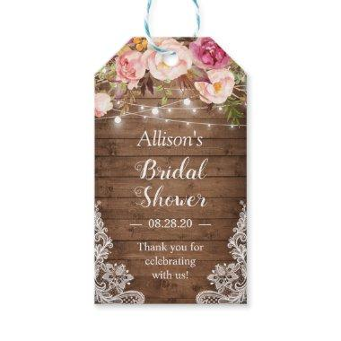 Rustic String Lights Floral Lace Bridal Shower Gift Tags