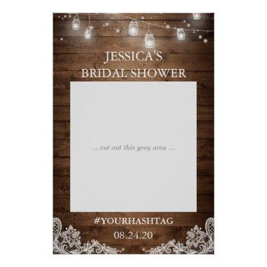 Rustic String Lights Lace Bridal Shower Photo Prop Poster