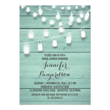 Rustic String Lights Teal Bridal Shower Invitations