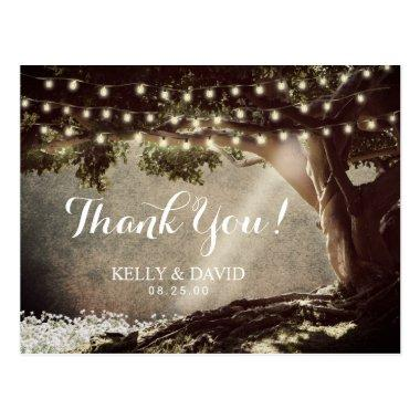 Rustic String Lights Vintage Tree Thank You Post