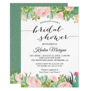 Rustic Succulent Cactus Floral Bridal Shower Invitations