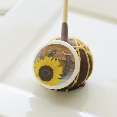 Rustic Sunflower and Horseshoe Western Wedding Cake Pops