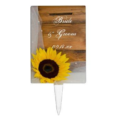 Rustic Sunflower and Veil Country Wedding Cake Topper