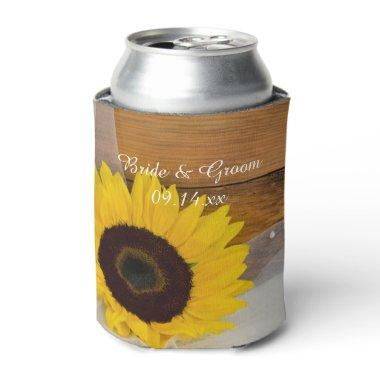 Rustic Sunflower and Veil Country Wedding Favor Can Cooler