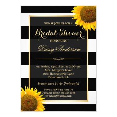 Rustic Sunflower Black White Stripes Bridal Shower Invitations