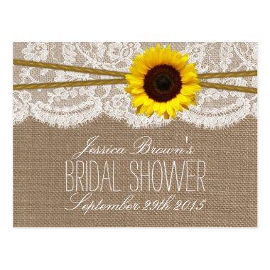 Rustic Sunflower Bridal Shower Recipe Invitations
