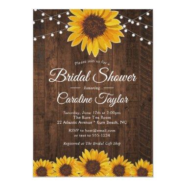 Rustic Sunflower Bridal Shower with String Lights Invitations