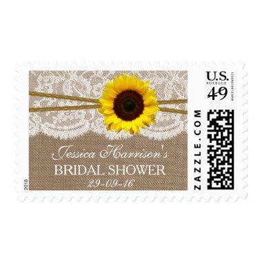 Rustic Sunflower, Burlap & Lace  Postage