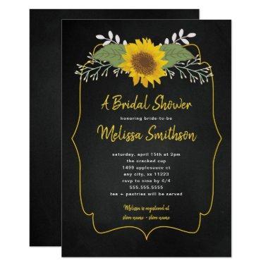 Rustic Sunflower Chalkboard  invite