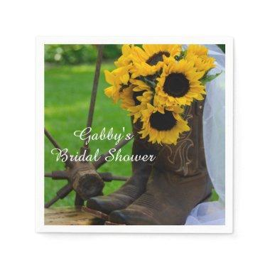 Rustic Sunflower Cowboy Boot Country  Napkin