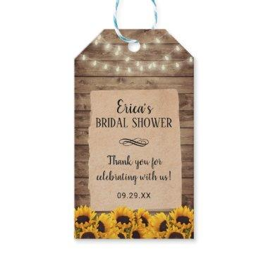 Rustic Sunflower Floral Bridal Shower Favor Gift Tags