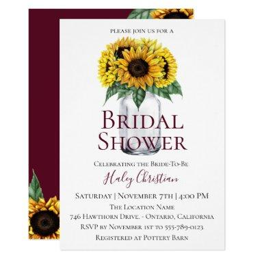 Rustic Sunflower Floral Bridal Shower Invitations