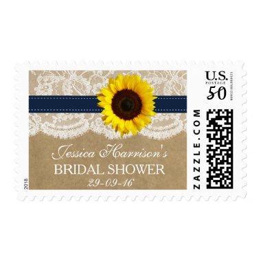Rustic Sunflower, Kraft & Lace  Postage