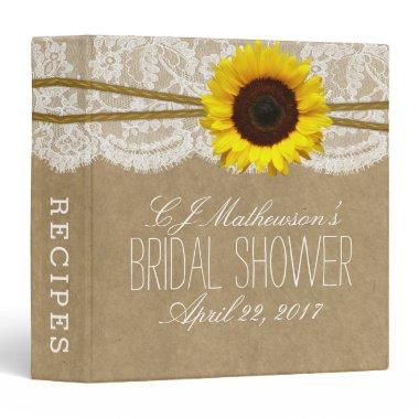 Rustic Sunflower Kraft & Lace Bridal Shower Recipe 3 Ring Binder