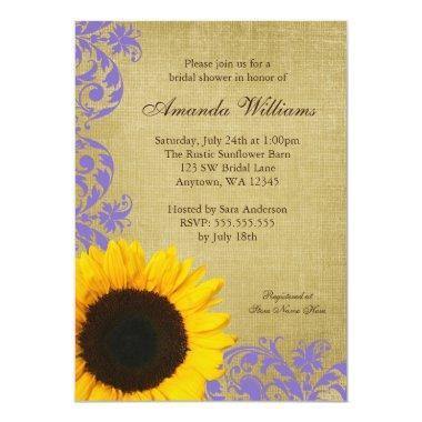 Rustic Sunflower Lavender Swirls Bridal Shower Invitations