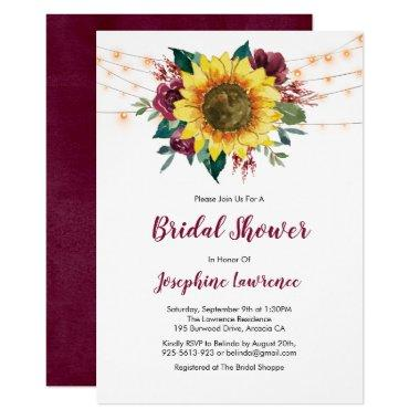 Rustic Sunflower Lights Floral Bridal Shower Invitations