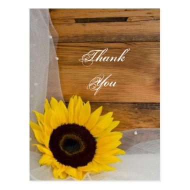 Rustic Sunflower Veil Country Wedding Thank You PostInvitations