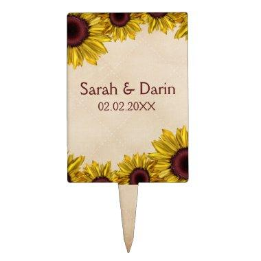 Rustic Sunflower Wedding Cake Topper