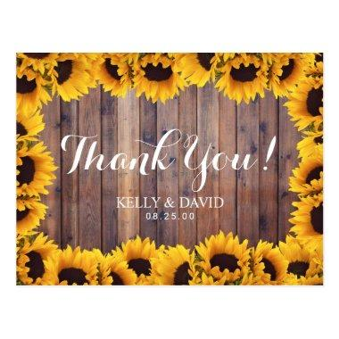 Rustic Sunflower Wedding Thank You PostInvitations