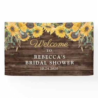 Rustic Sunflower Wood Bridal Shower Banner