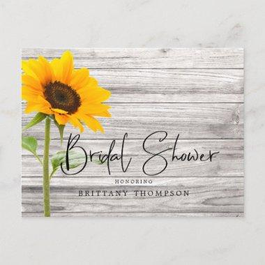 Rustic Sunflower Wood Bridal Shower Invitation PostInvitations
