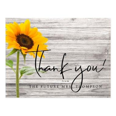 Rustic Sunflower Wood Bridal Shower Thank You PostInvitations