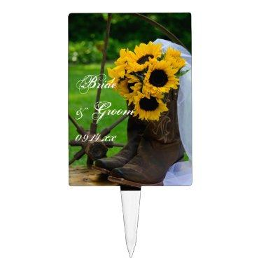 Rustic Sunflowers and Cowboy Boots Country Wedding Cake Topper