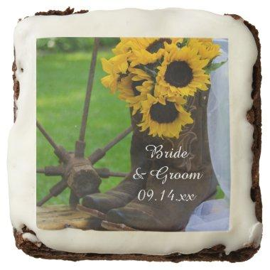 Rustic Sunflowers and Cowboy Boots Western Wedding Chocolate Brownie