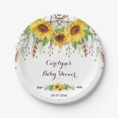 Rustic Sunflowers Boho Dreamcatcher Shower Party Paper Plate