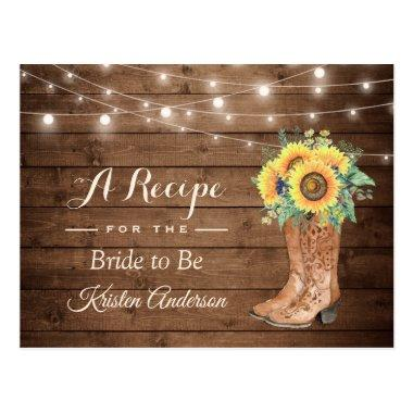 Rustic Sunflowers Boots Bridal Shower Recipe PostInvitations