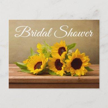 Rustic Sunflowers Bridal Shower Yellow Flowers Invitation PostInvitations