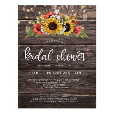 Rustic Sunflowers Lights Bridal Shower Invitation PostInvitations
