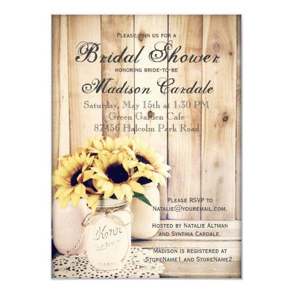 Rustic Sunflowers Mason Jar  Invites