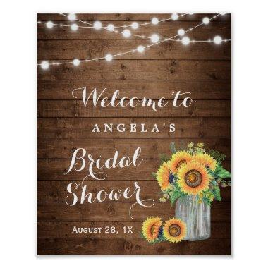 Rustic Sunflowers String Lights Bridal Shower Sign Poster