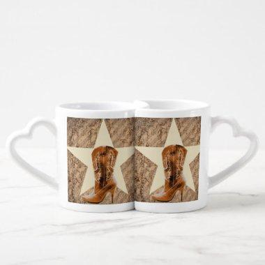 Rustic Texas Star Western Country Cowgirl Boot Coffee Mug Set