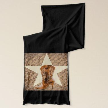 Rustic Texas Star Western Country Cowgirl Boot Scarf